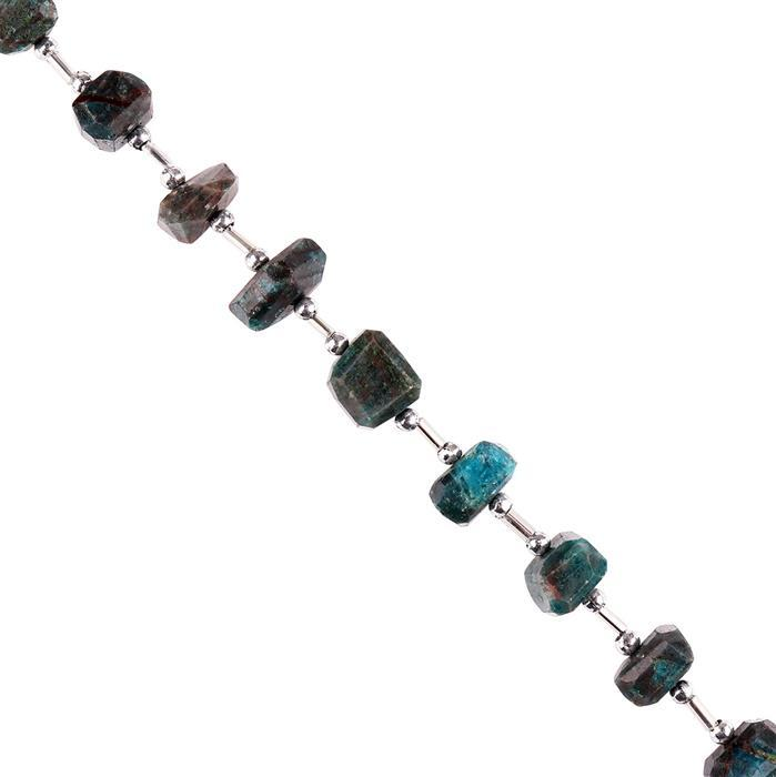 115cts Neon Apatite Graduated Faceted Nuggets Approx 10x5 to 11x7mm, 18cm Strand.