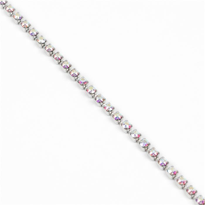 Swarovski Cupchain, Crystal AB, Rhodium Plating, PP14, 27104, Approx 50cm Long