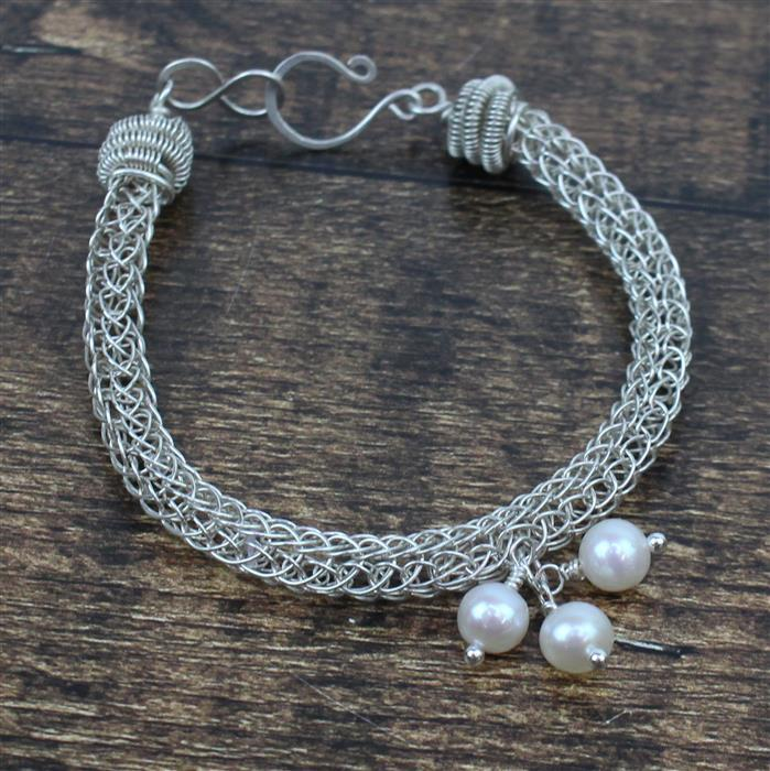 Perfection INC Round White Freshwater Cultured 7mm Pearls (38cm) & sterling silver wires