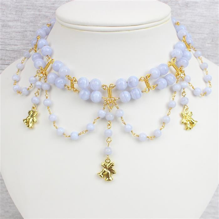 Lacey Days: 6mm & 8mm Blue Lace Agate Rounds, Gold Bell Charms & Wires