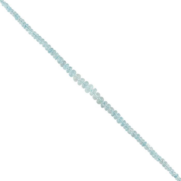 44cts Aquamarine Graduated Faceted Rondelles Approx 2x1 to 7x3mm, 18cm Strand.
