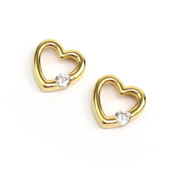 Double Trouble 2x Gold Plated 925 Sterling Silver CZ Floating Heart Pendant Approx