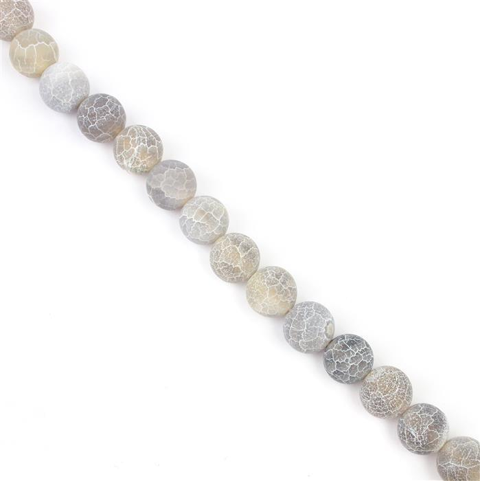 330cts Gray Frosted Crackled Agate Plain Rounds Approx 11-12mm, 38cm strand