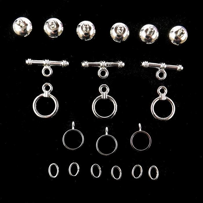 Kumihimo Silver Plated Accessory Pack 8mm (3pack)