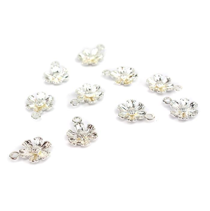 Silver Plated Base Metal Flower Charms, Approx 16x12mm (10pcs)