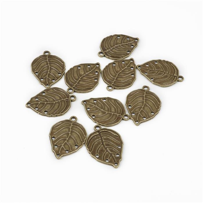 Oxidised Antique Bronze Plated Leaf Charms - 30x20mm (10pcs/pk)