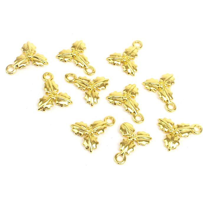 Gold Colour Base Metal Holly Charms Approx 12mm (10pcs)