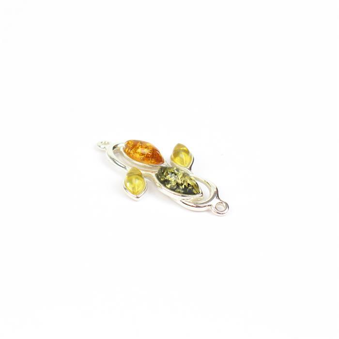 Baltic Cognac, Green, Lemon Amber Marquise Leaf Connector with Sterling Silver Element Approx 27x15mm