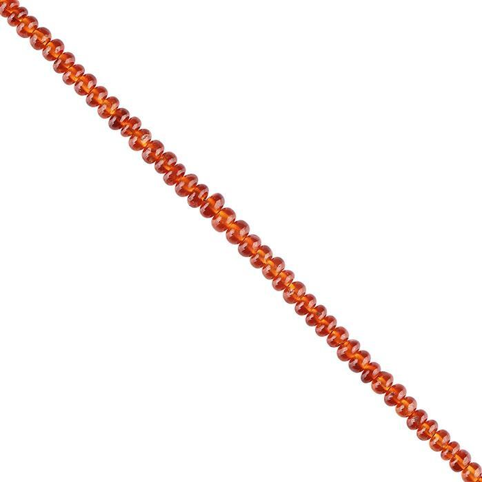 30cts Hessonite Garnet Graduated Plain Rondelles Approx 2x1 to 4x2mm, 18cm Strand.