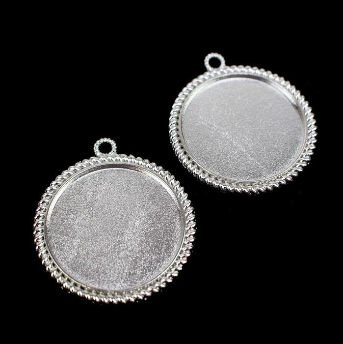 Silver Colour Round Bezel Pendant Approx 37mm (Set of 2)