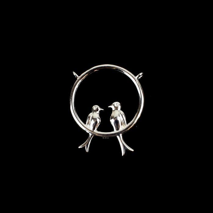 925 Sterling Silver Circle of Love Birds Pendant / Connector Approx 20x24mm 1pc