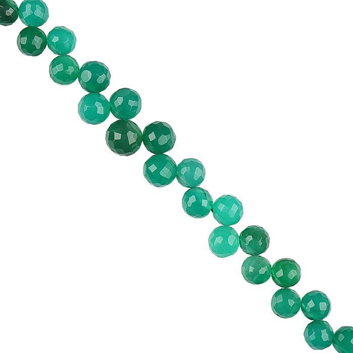 100cts Green Onyx Graduated Faceted Corner Drilled Rounds Approx 5 to 7mm, 22cm Strand.