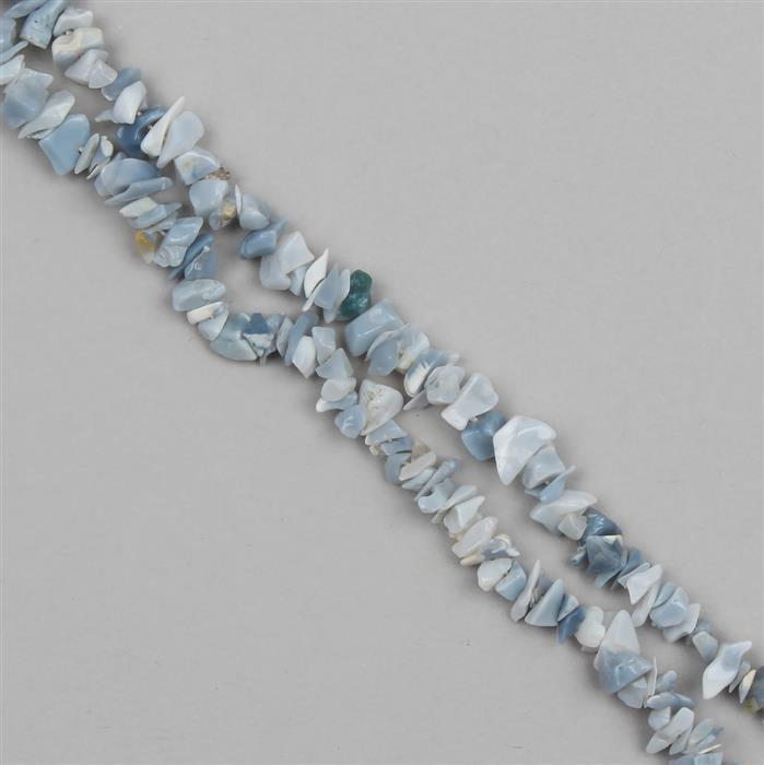 95cts Blue Opal Plain Small Nuggets Approx From 2x1 to 9x1mm, 86cm Strand.