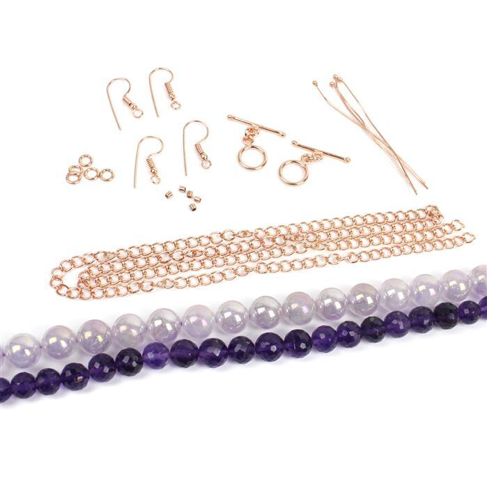 Rose: Amethyst faceted rounds, Rainbow coated light amethyst rounds & rose gold findings