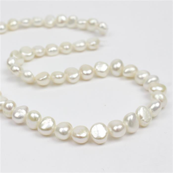White Freshwater Cultured Nugget Pearls Approx 7-8mm, 38cm Strand