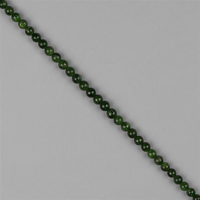 60cts Chrome Diopside Plain Rounds Approx 6mm, 18cm Strand.