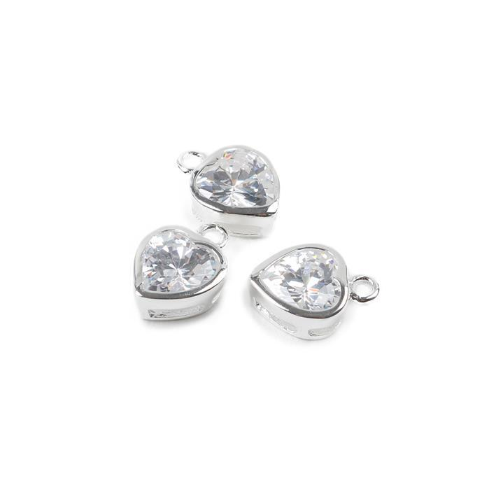 925 Sterling Silver Cubic Zirconia Heart Charms, Approx 9mm,  3pcs