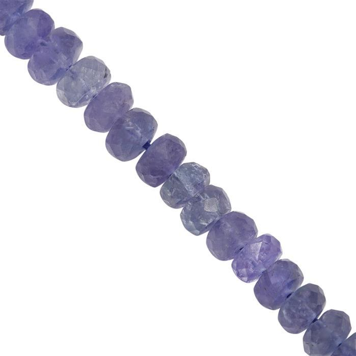 65cts Tanzanite Graduated Faceted Rondelles Approx 4x2 to 6x4mm, 20cm Strand
