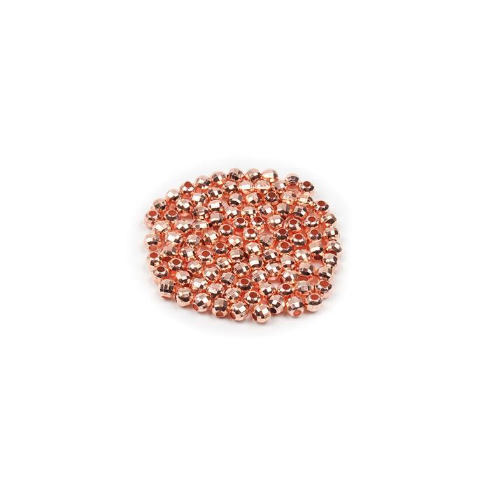 Rose Gold Plated Brass Faceted Round Beads - 3mm (100pcs/pk)
