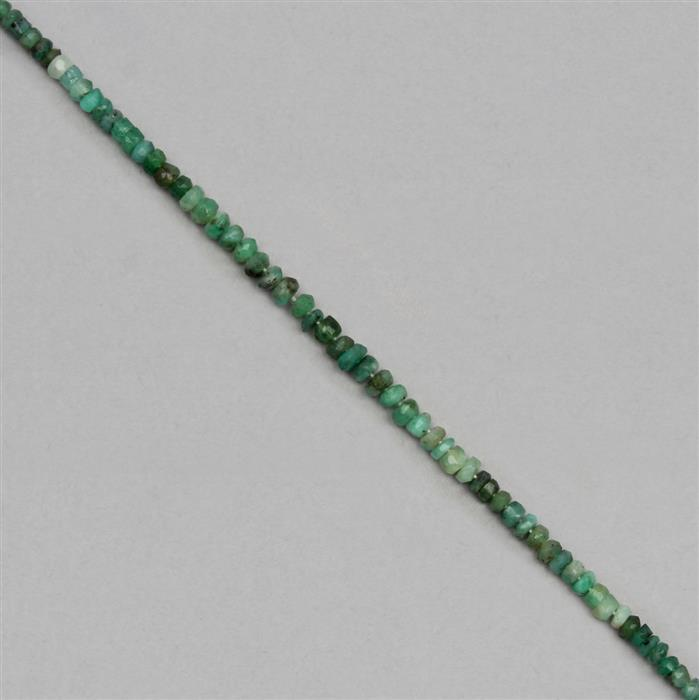 25cts Shaded Emerald Graduated Faceted Rondelles Approx 3x1 to 5x2mm, 18cm Strand.