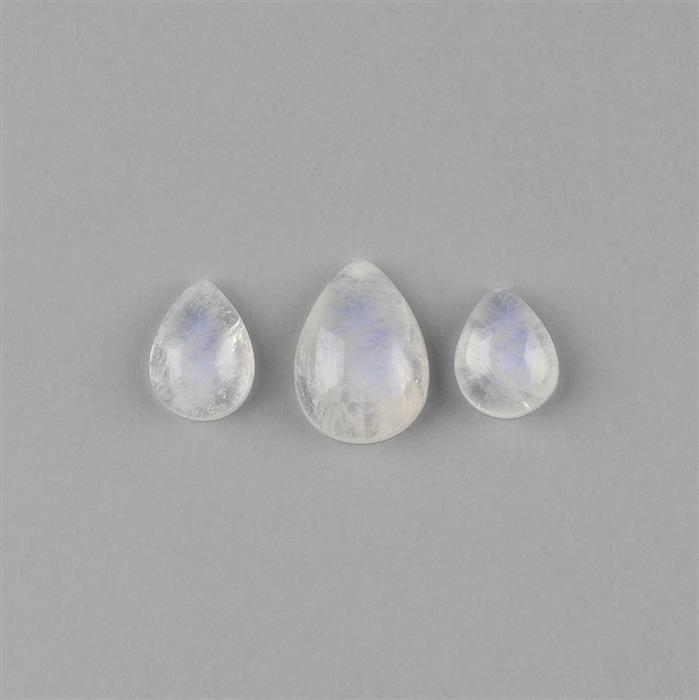 18cts Rainbow Moonstone Multi Size Pear Shape Cabochons Assortment. (3pcs)