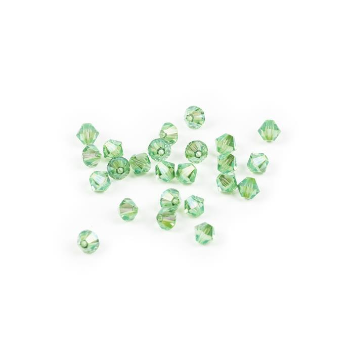 Swarovski Crystal Beads - Pack of 24 Bicone 5328 - 6mm Peridot Shimmer 2x