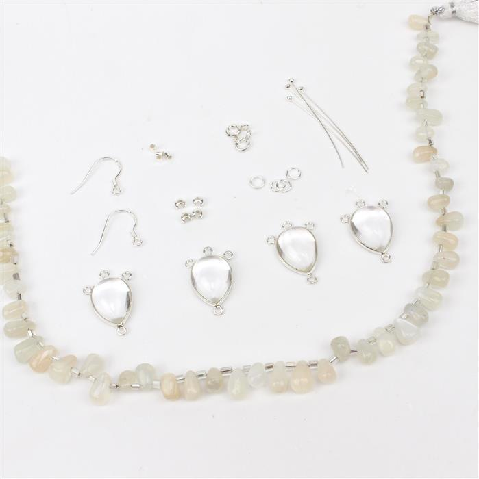 Belle; 925 SS Chandeliers With Three Loops inc Clear Quartz 4pcs, Moonstone & Findings