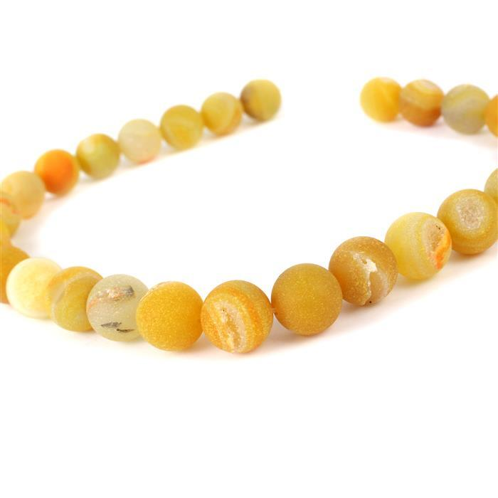 520cts Yellow Agate Frosted Rounds with Druzy Hole Approx 14mm, Approx 38cm/strand