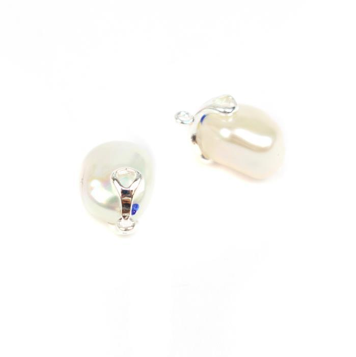 Freshwater Baroque Pearl Charms With 925 Sterling Silver Bar Approx 10x14mm (2pcs)