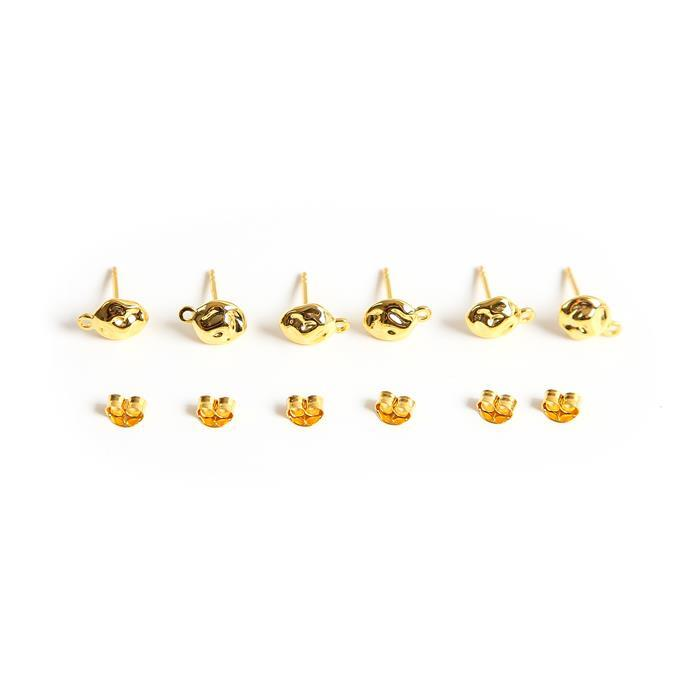 Gold Plated 925 Sterling Silver Pebble Stud With Loop & Butterfly Backs Approx 10mm (3 Pairs)