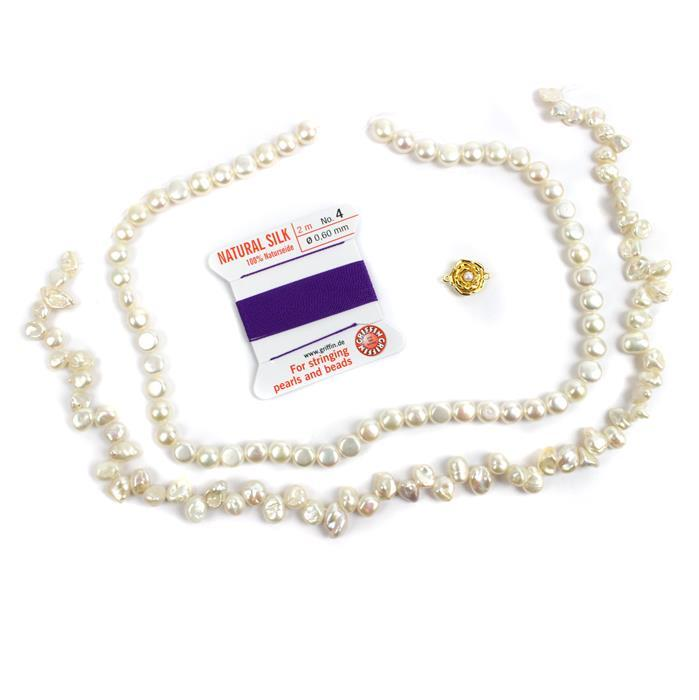 Rose: White Freshwater Cultured Button & Top Drilled Pearl strands, clasp & silk cord