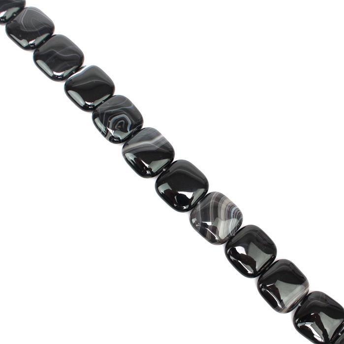 450cts Black Stripe Agate Puffy Squares Approx 20mm, 38cm/strand