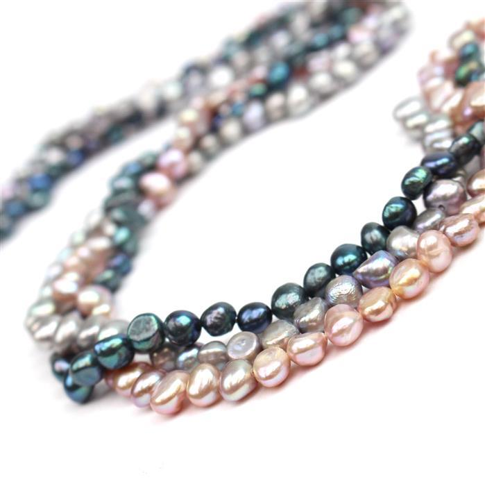 3x38cm Strands Freshwater Cultured Nugget Pearls Approx 5-6mm(Natural Pale Lilac, Peacock & Silver)