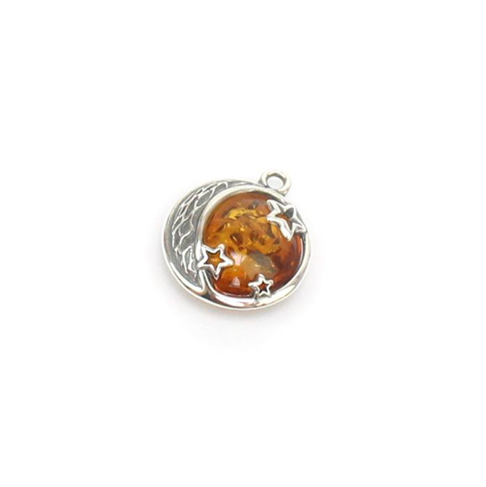 Baltic Cognac Amber Moon and Stars Pendant Sterling Silver Approx 14x17mm