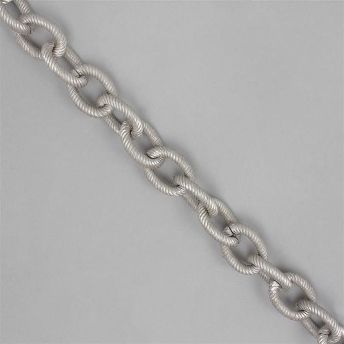 Matte Antique Silver Aluminum Chain (19x14mm) - 1m