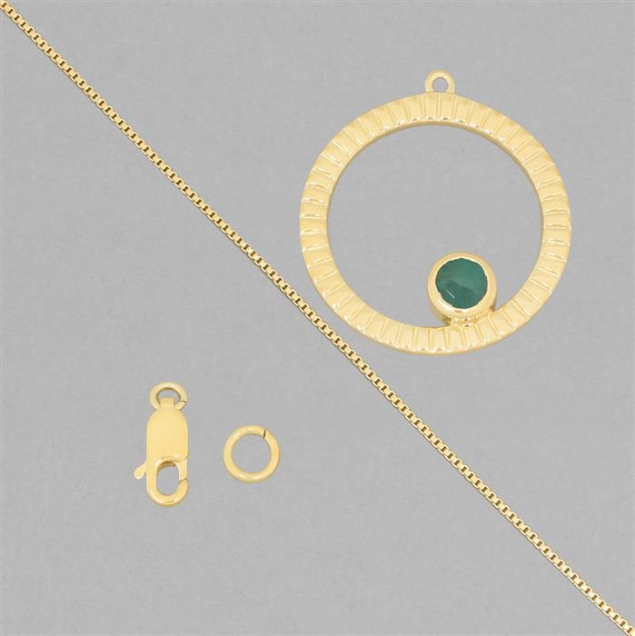 Birthstone Kit: Gold Plated 925 Sterling Silver Birthstone Necklace Kit Inc. 0.45cts Emerald Round Approx 5mm