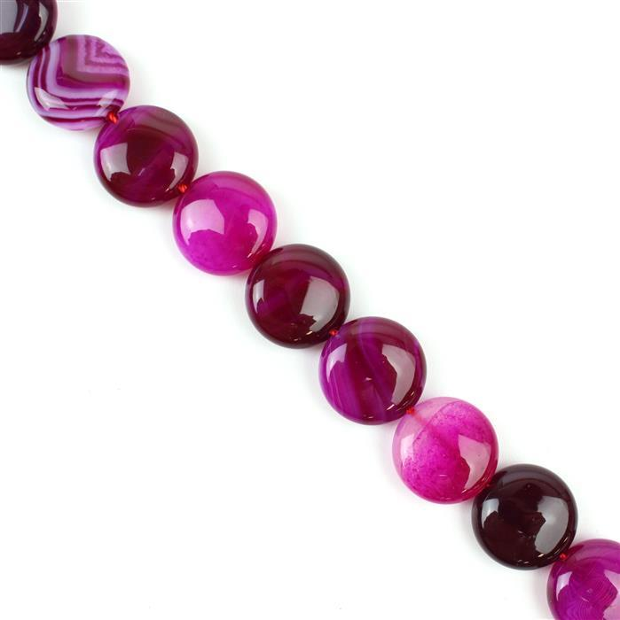 300cts Fuchsia Stripe Agate Puffy Coins Approx 16mm, 38cm/strand