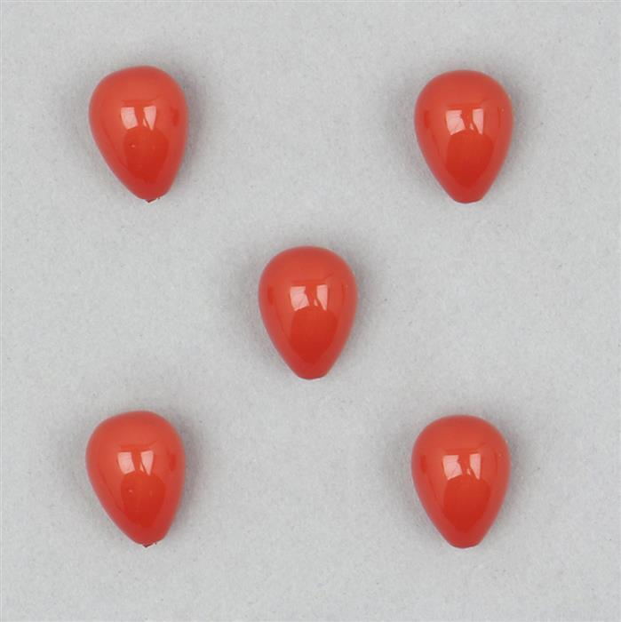 Orange Shell Pearl Half Drilled Drops Approx 9x12mm 5pcs Set