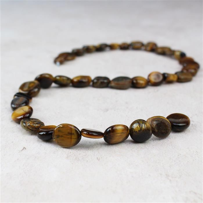 160cts Yellow Tigers Eye Nuggets Approx 8x9 to 14x10mm, 38cm strand