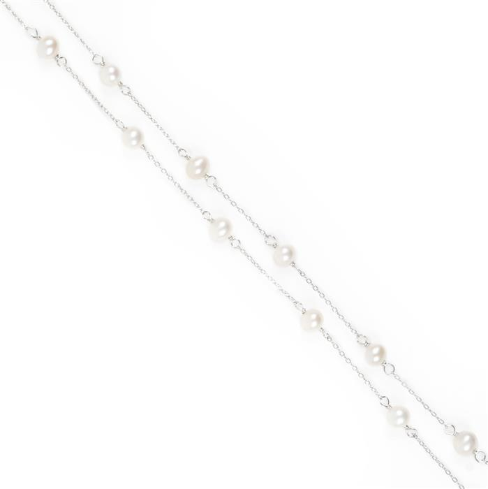925 Sterling Silver Freshwater Cultured Pearl Chain, Potato Pearl Approx 5-6mm, 1 Metre Length Chain