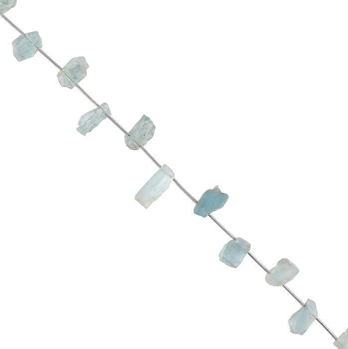 45cts Aquamarine Graduated Rough Slices Approx 10x6 to 13x7mm, 16cm Strand.