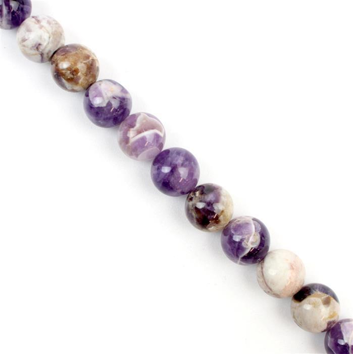 400cts Marble Amethyst Plain Rounds Approx 12mm, Approx 38cm/strand