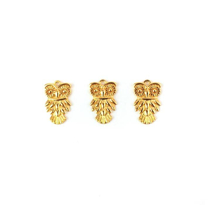 Gold Plated 925 Sterling Silver Owl Charms Approx 9x15mm 3pcs