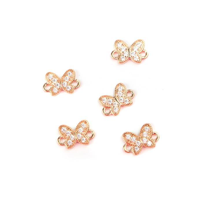 Rose Gold Plated Spring Butterfly Connectors 925 Sterling Silver and Cubic Zirconia 6.5mm 5pk