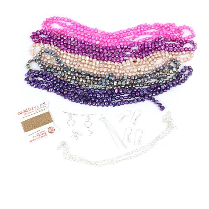 Pearls Just Want To Have Fun Inc 5m Metallic Pinks Freshwater Cultured Pearl Nuggets