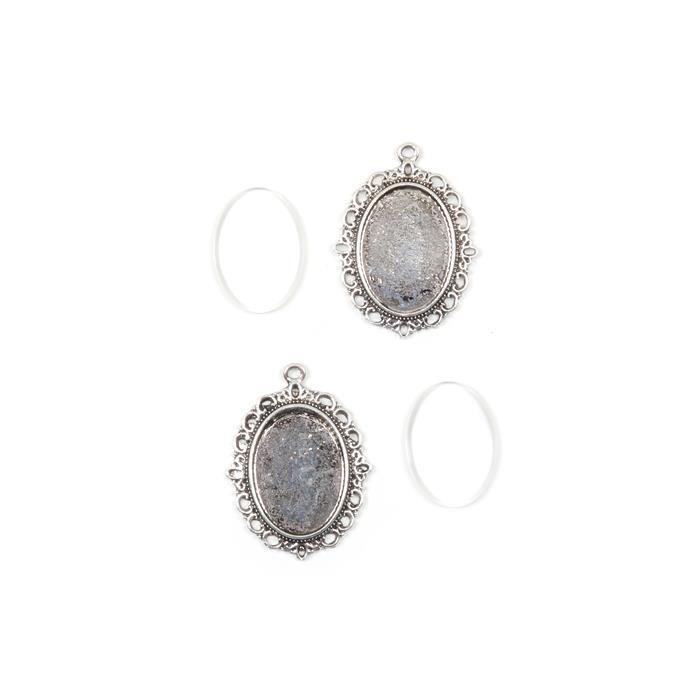 Silver coloured Oval Pendant  Approx 39x29mm, Photo Size 25x18mm, 2pk
