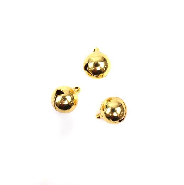 Gold  Coloured Brass Bell Charms Approx 13mm 3pk