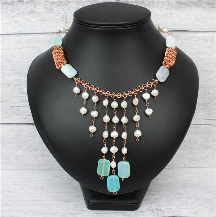 Fresh & Bright; 290cts Aqua Stripe Agate Puffy Rectangles, Cultured Pearls, Rose Gold Wire