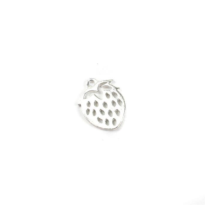925 Sterling Silver Strawberry Charm Approx 12x9mm,1pcs