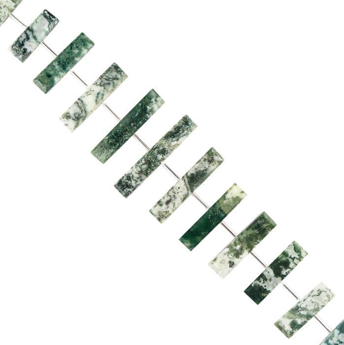 120cts Green Opal with Chalcedony Graduated Faceted Bars Approx 14x6 to 35x7mm, 18cm Strand.